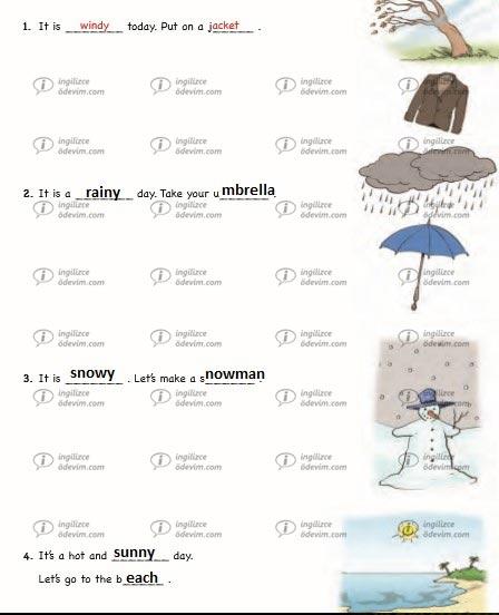 6. Sınıf Ada Yayınevi İngilizce Çalışma Kitabı ( Workbook) Unit 4 Weather and emotions Cevapları - 4