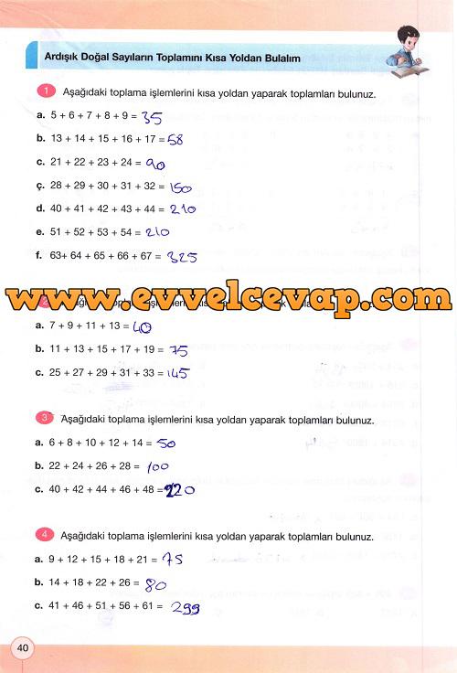 4 sinif yakin cag matematik calisma kitabi sayfa 40 ders ve calisma kitaplari e okul