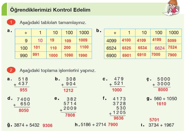 4. Sınıf Yakın Çağ Yayınları Matematik Ders Kitabı 55. Sayfa Cevapları Doğal Sayılarla Toplama İşlemi