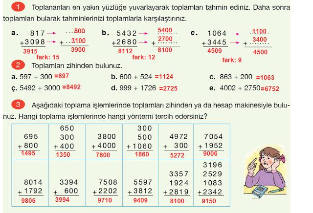 4. Sınıf Yakın Çağ Yayınları Matematik Ders Kitabı 59. Sayfa Cevapları Doğal Sayılarla Toplama İşlemi