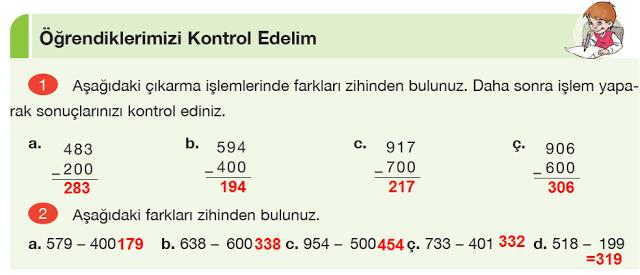 4. Sınıf Yakın Çağ Yayınları Matematik Ders Kitabı 70. Sayfa Cevapları Doğal Sayılarla Çıkarma İşlemi