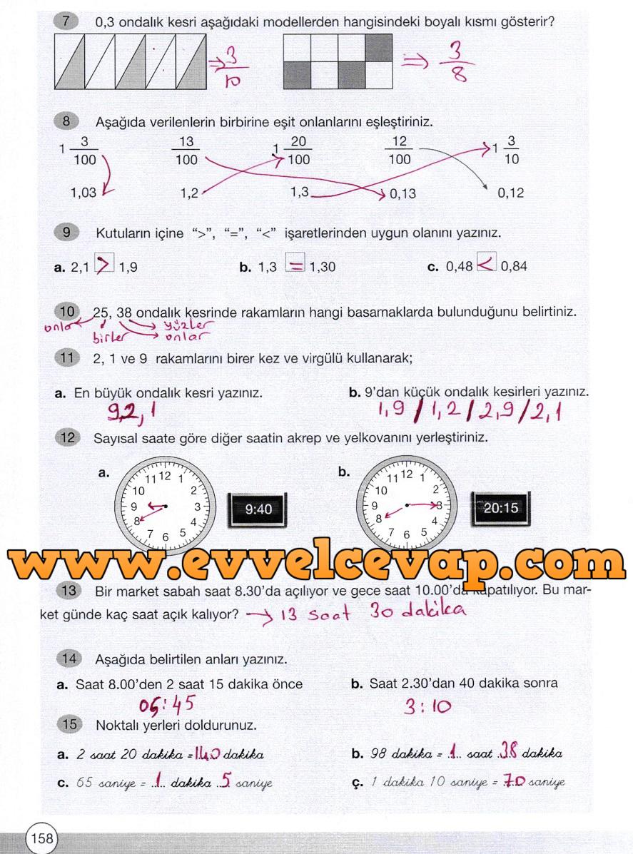 4 sinif yakin cag matematik ders kitabi cevaplari sayfa 158 ders ve calisma kitaplari e okul
