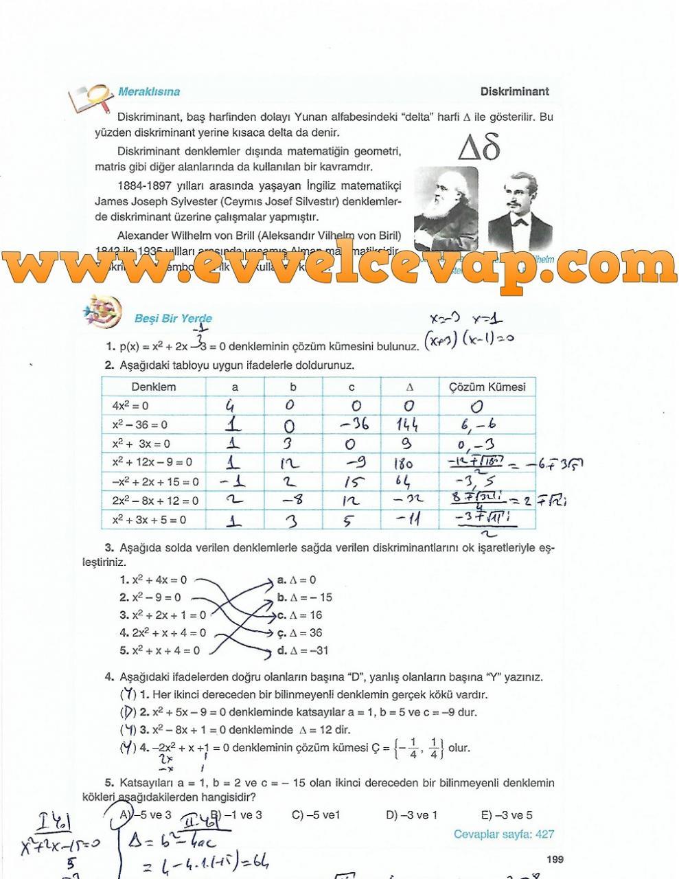 10 Sınıf Tuna Matematik Ders Kitabı Cevapları Sayfa 199 Ders Ve